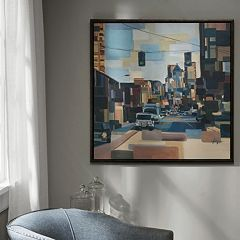 Madison Park Urban Street At High Noon Framed Canvas Wall Art