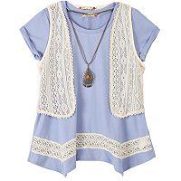 Girls 7-16 Speechless Crochet Vest & Sharkbite Hem Tunic Set with Necklace