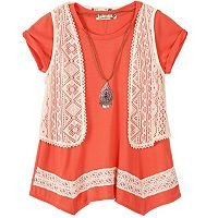 Girls 7-16 Speechless Crochet Vest & Sharkbite Hem Tunic Set with Necklace