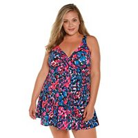 Plus Size Croft & Barrow® Tummy Slimmer Bow-Front Swimdress