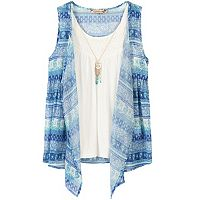 Girls 7-16 Speechless Patterned Woven Cozy Top with Owl Necklace