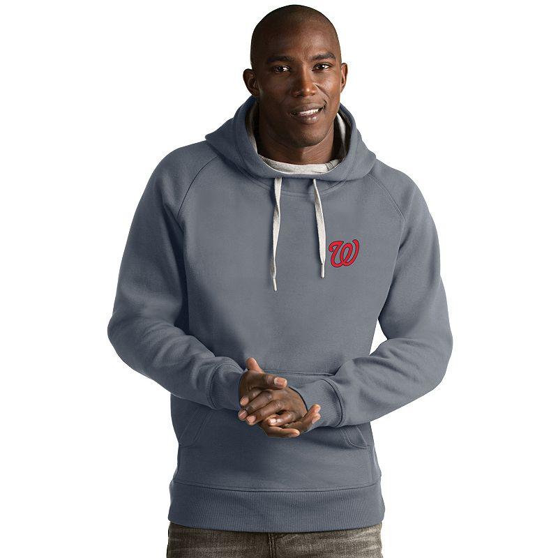 Men's Antigua Washington Nationals Victory Pullover Hoodie, Size: 3XL, Light Grey
