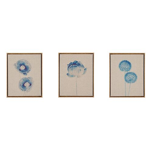Madison Park Blue Print Botanicals Framed Linen Wall Art 3-piece Set