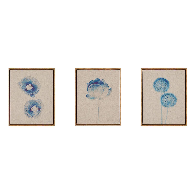 madison park blue print botanicals framed linen wall art 3piece set