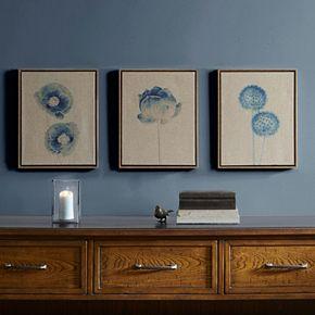 Madison Park Blue Print Botanicals Framed Linen Wall Art 3-piece Set