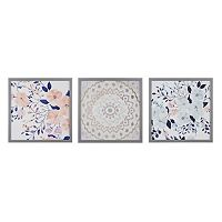 Madison Park Summer Bliss Floral Framed Wall Art 3 pc Set