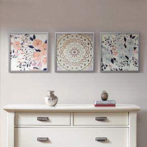 Madison Park Summer Bliss Floral Framed Wall Art 3-piece Set