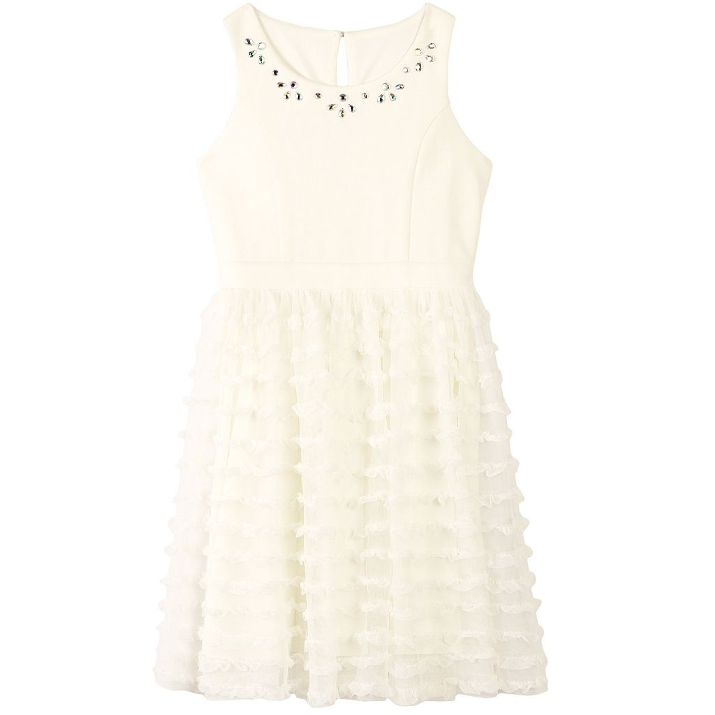 Girls 7-16 Speechless Scuba Bodice Ruffle Tulle Dress