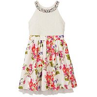 Girls 7-16 Speechless Embellished Lace Floral Skirt Halter Dress