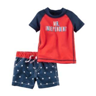 "Baby Boy Carter's ""Mr. Independent"" Rashguard & Star Swim Trunks Set"