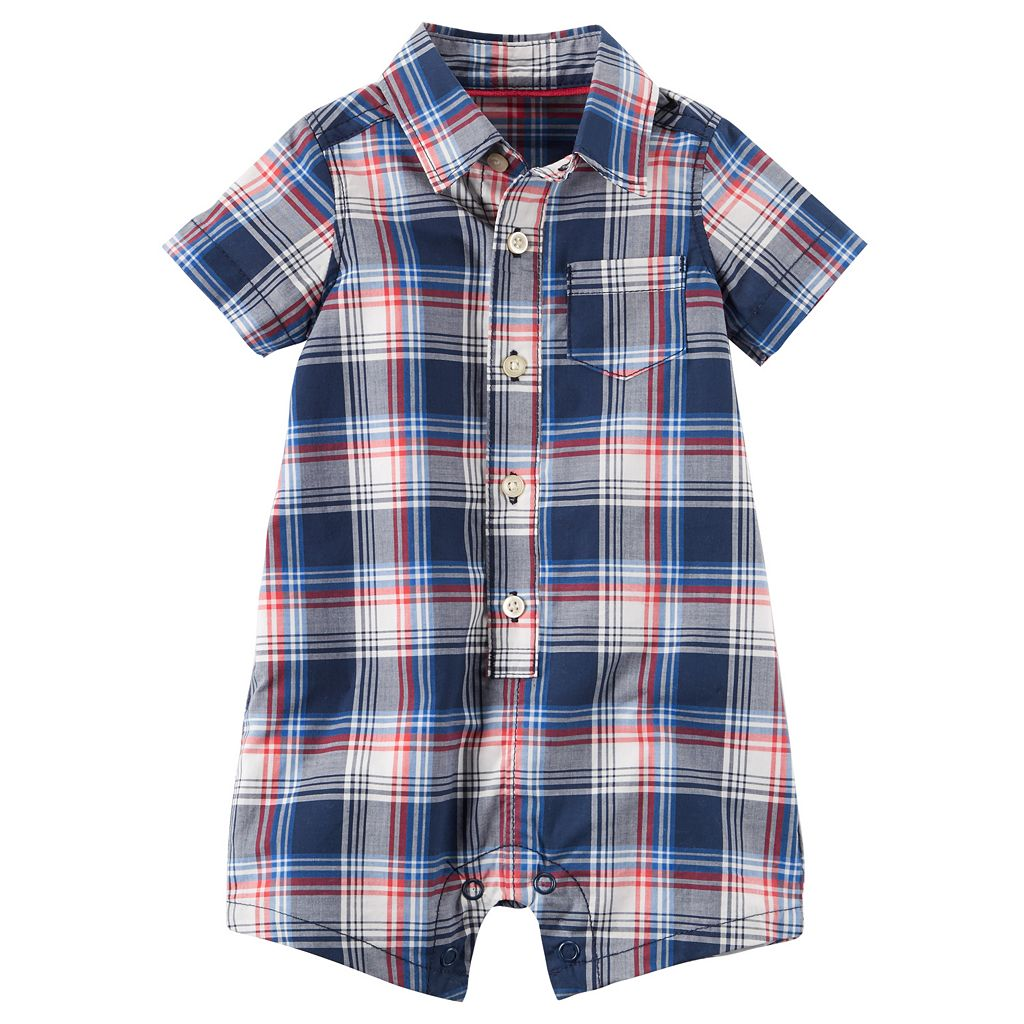 Baby Boy Carter's Plaid Button-Down Romper