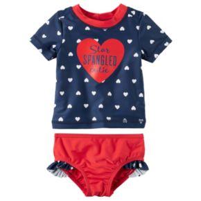 """Baby Girl Carter's """"Star Spangled Cutie"""" Heart Rashguard & Ruffled Bikini Bottoms Set"""