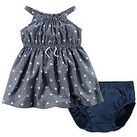 Baby Girl Carter's Star-Print Chambray Dress