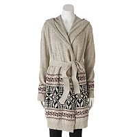Women's Olivia Sky Geometric Hooded Cardigan