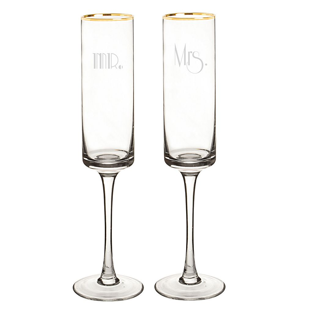 Cathy's Concepts Gatsby 2-pc. Gold Rim Couples Champagne Flute Set