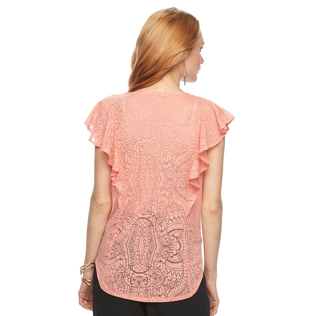 Women's Apt. 9® Burnout Flutter Tee
