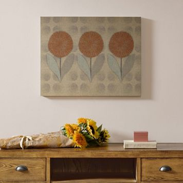 Madison Park Mid Mod Orange Flowers Linen Wall Art