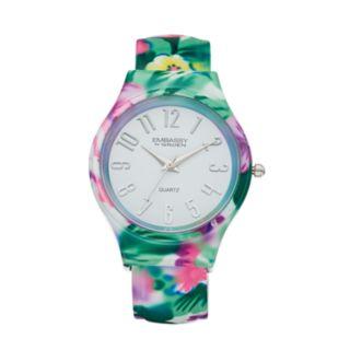 Embassy by Gruen Women's Floral Bangle Watch