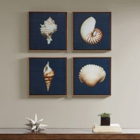 Madison Park Ocean Blue Seashells Framed Canvas Wall Art 4-piece Set