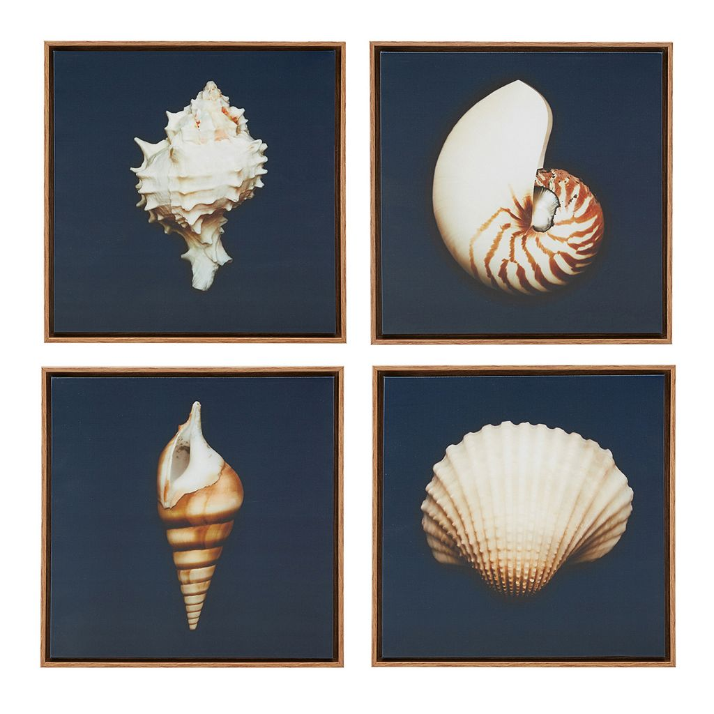 Madison Park Ocean Blue Seashells Framed Canvas Wall Art 4-piece Set