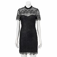 Juniors' Almost Famous Illusion Mockneck Lace Dress