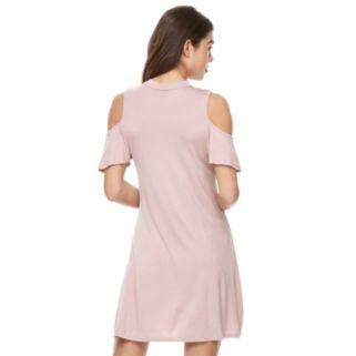 Juniors' Almost Famous Choker Cold-Shoulder Dress