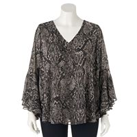 Plus Size Jennifer Lopez Leopard Chiffon Top