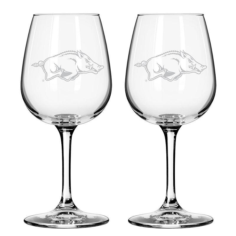 Boelter Arkansas Razorbacks 2-Pack Etched Wine Glasses, Ovrfl Oth