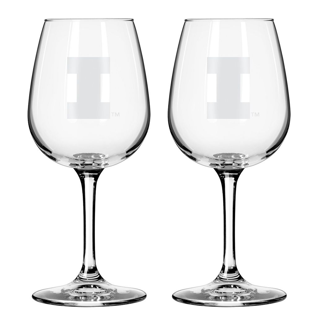 Boelter Illinois Fighting Illini 2-Pack Etched Wine Glasses