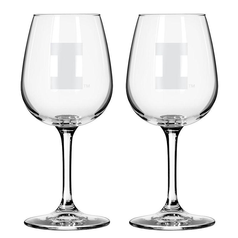 Boelter Illinois Fighting Illini 2-Pack Etched Wine Glasses, Ovrfl Oth