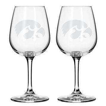 Boelter Iowa Hawkeyes 2-Pack Etched Wine Glasses