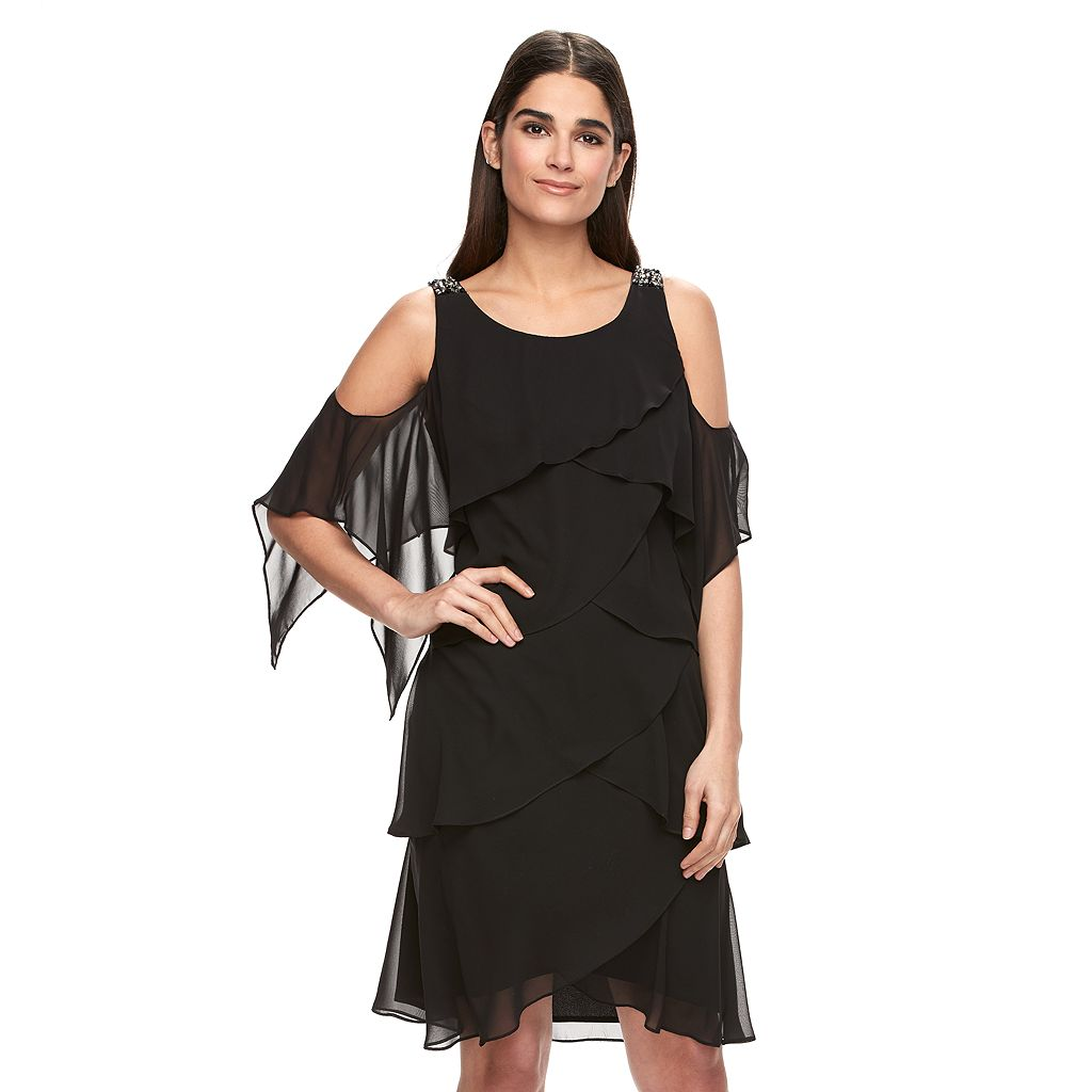 Women's Expo Tiered Cold-Shoulder Shift Dress