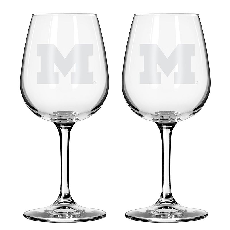 Boelter Michigan Wolverines 2-Pack Etched Wine Glasses, Ovrfl Oth