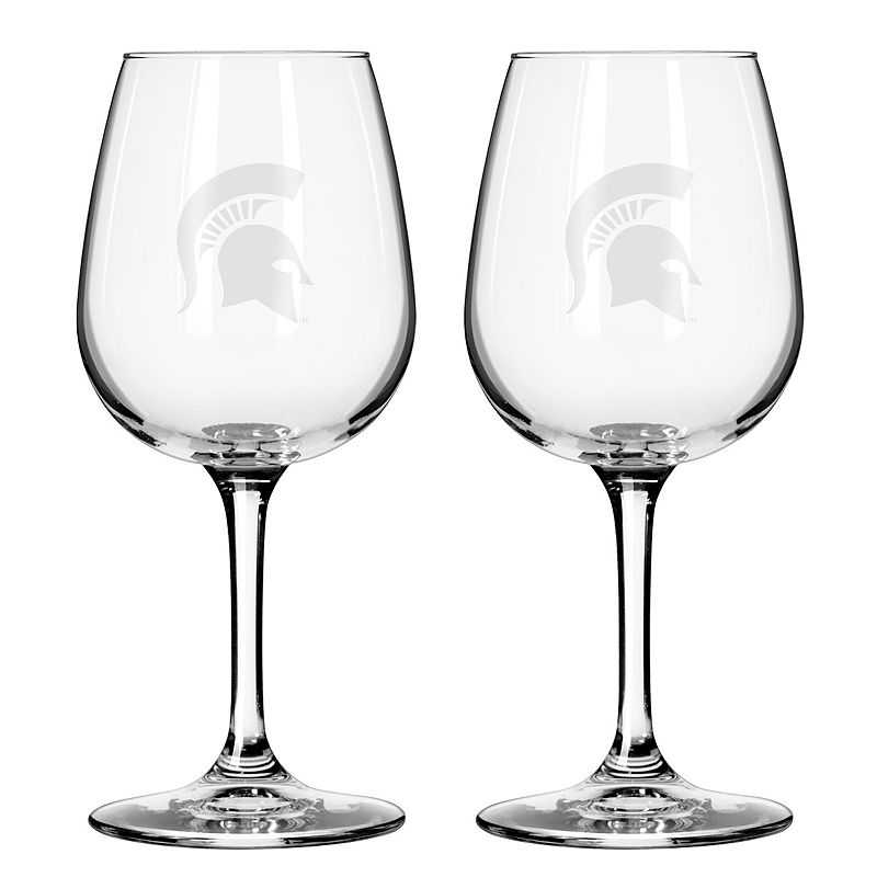 Boelter Michigan State Spartans 2-Pack Etched Wine Glasses, Ovrfl Oth