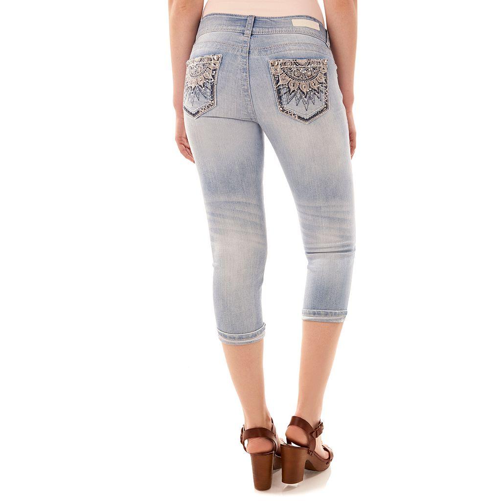 Juniors' Wallflower Luscious Curvy Floral Capri Jeans