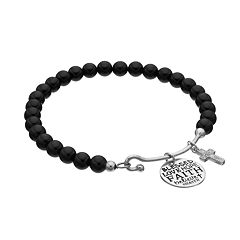 CHARMED BY DIAMONDS Onyx Bead & 1/10 Carat T.W. Diamond Cross Charm Bracelet