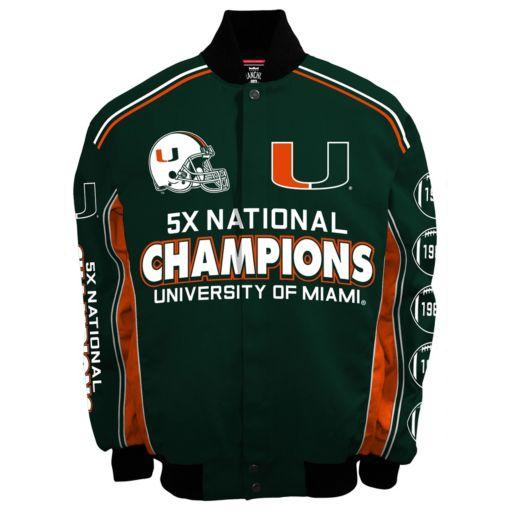 Men's Franchise Club Miami Hurricanes Commemorative Varsity Jacket