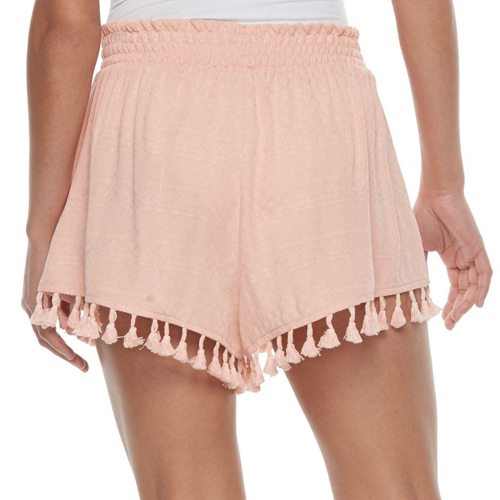 Juniors' Mason & Belle Smocked Fringed Shorts
