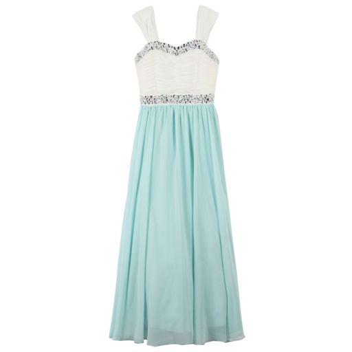Girls 7-16 Speechless Ivory & Mint Embellished Bodice Maxi Dress