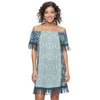 Juniors' Mason & Belle Print Gauze Shift Dress
