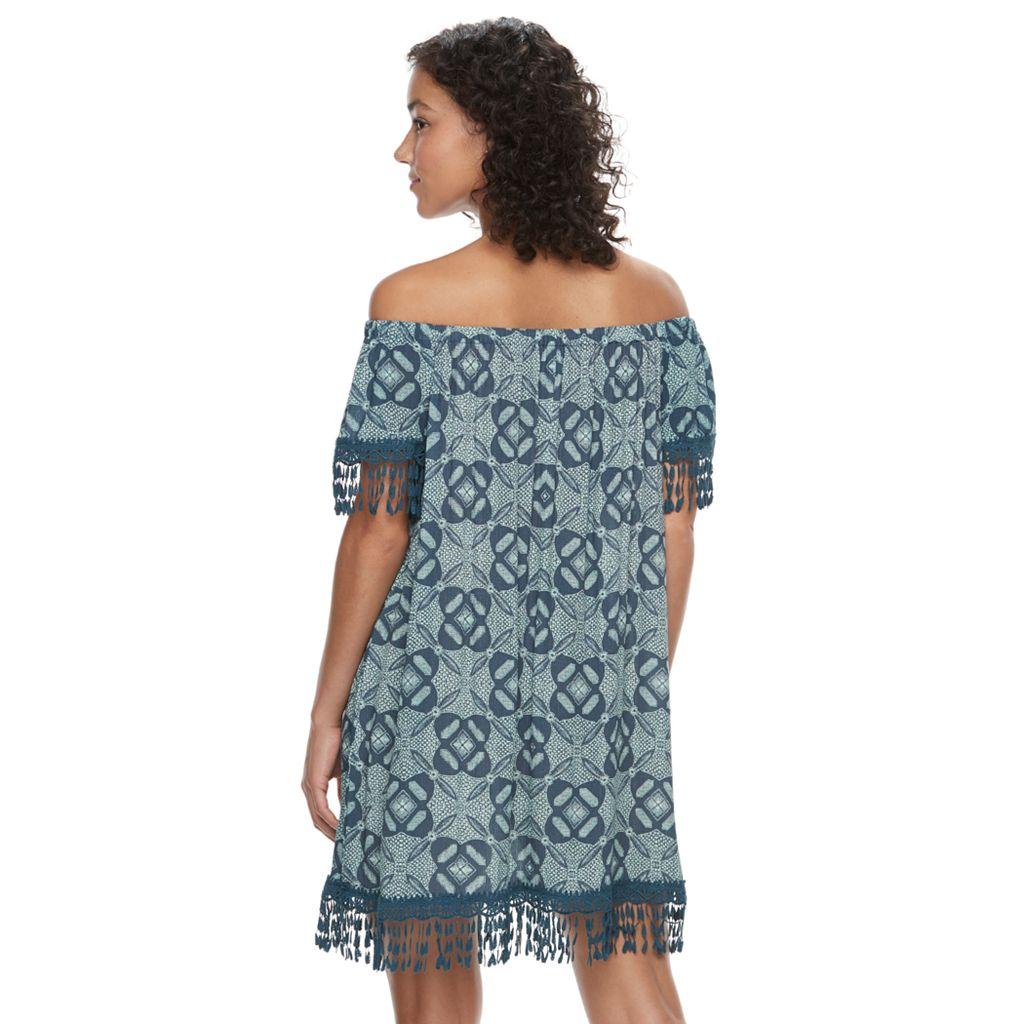Juniors' Mason & Belle Print Gauze Shift Dress