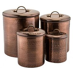 Old Dutch 4 pc Antique Hammered Copper Canister Set