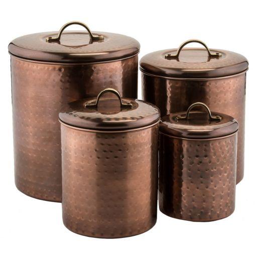Old Dutch 4-pc. Antique Hammered Copper Canister Set