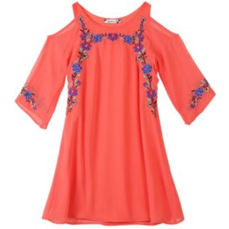 Girls 7-16 Speechless Embroidered Chiffon Cold Shoulder Dress
