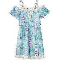 Girls 7-16 Speechless Printed Cold Shoulder Crochet Border Dress