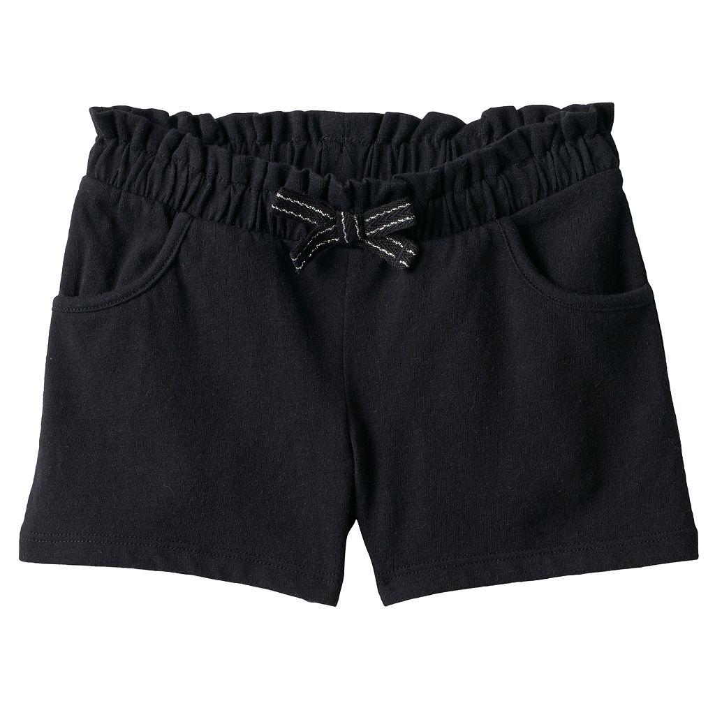 Toddler Girl Jumping Beans® Solid Black Paper Bag Waist Shorts