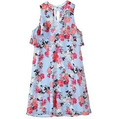 Girls 7-16 Speechless Ruffle Keyhole Floral Mandarin Halter Dress