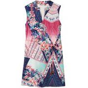 Girls 7-16 Speechless Mandarin Collar Mixed Print Belted Sheath Dress