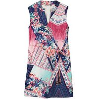 Girls 7-16 Speechless Mandarin Collar Mixed Print Belted Sheath Dress