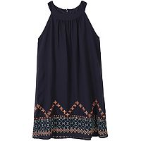 Girls 7-16 Speechless Embroidered Border Halter Dress